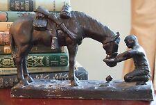 CAST IRON LEAD DOORSTOP BOOK END COWBOY HORSE GUN SOUTHWEST VINTAGE FIGURINE WOW