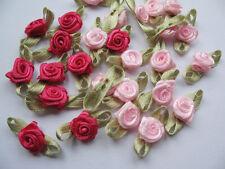 100 Mini Satin Ribbon Rose leaves-Pink/Hot pink RF047-1