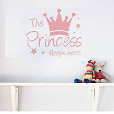 Quote The Princess Sleeps Here Quote Wall Stickers Baby Girls Room Vinyl Decals