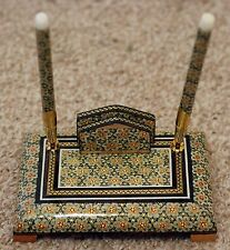 Persian Handcrafted Wooden Inlaid Khatam Marquetry Pen Holder with Khatam Pen