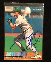 JASON GIAMBI 1996 FLEER RC ROOKIE AUTOGRAPHED SIGNED AUTO BASEBALL CARD 208 A'S