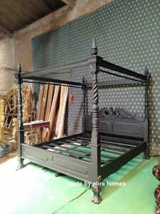 Super King size 6' Matt Black Queen Anne style Four Poster mahogany bed