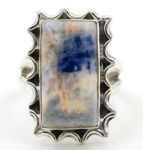 Natural Blue Sodalite 925 Genuine Sterling Silver Ring Jewelry Sz 7, ED13-1