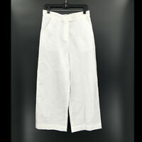 NEW tyler boe white linen tie waist wide leg cropped pants lagenlook capri S
