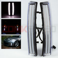 For 03-05 Nissan 350Z Clear White LED DRL (370Z Style) Bumper Reflector Lights