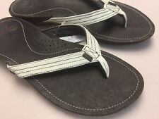 New REEF Miss J-Bay 1241 Leather Thong flip flop Brown/white Size 9