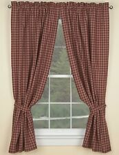 Primitive Country Wine Sturbridge Panel Curtains 72WX63L Plaid Cotton Farmhouse