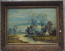 Tableau fin 19ème paysage à la rivière signé Sacley