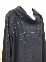 Lane Bryant Womens Top  Cowl Neck Long Sleeve Dark Blue Sequin Plus Size 22/24