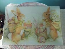 "Prima Designs EASTER 14 7/8"" x 10"" LARGE Rectangle Glass PLATTER Bunny Rabbit"