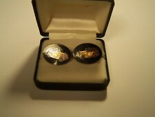 Vintage Avon Men's Enamel Old Car Automobile Oval Cuff links PAIR w/ Box