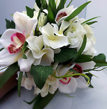 WEDDING FLOWERS - a bridesmaid posy bouquet of ivory & pink orchids & roses