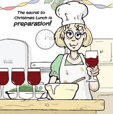 Merry Christmas Card with Cook & Prep -Funny Christmas Card -Xmas Card -Wine