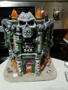 Lemax Halloween ~ Broken Skull Bar Lighted Village Building ~ Spooky Town