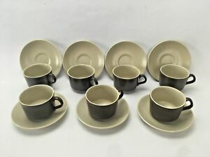 Set of 7 Tea Cup And Saucer Duo By Kelston Ceramics New Zealand Brown Speckle