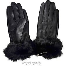 Leather Gloves. Real Fox fur. Size X Large Women's Gloves. Ladies' winter gloves