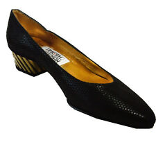 New TIMOTHY HITSMAN Mid Heel Pumps 6.5N Black with Antique Gold VERY STYLISH
