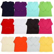 Long Sleeve Baby T-shirt Top Boys Girls 0-2 Years Envelope Neck 100% Cotton
