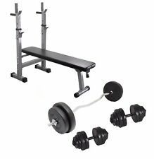 Weight Bench and Weights Curl Bar + Dumbbell + 30kg Weight Plates Folding Bench