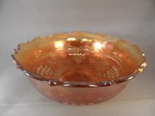 "ANTIQUE CARNIVAL GLASS FENTON GRAPE AND CABLE MARIGOLD  6""  BOWL FLUTED SCALLOP"