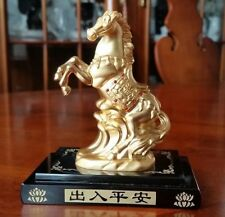Vintage Chinese Horse Sculpture 24k Gold Plated with Ruby Gems Glass Base