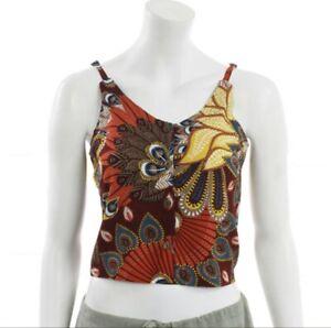 crop top vest belly Hippie Festival button handmade Orange Red 8-10 Fair Trade