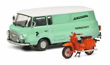 """Schuco 1:43 450365400 Barkas B1000 """"Service"""" + Schwalbe KR51 hellgrün/orange"""