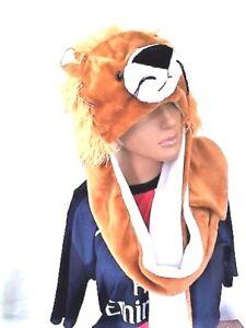 ANIMAL LION PLUSH WINTER WARMER HAT EARMUFF SCARF GLOVEs UNISEX Xmas Set 3 In1
