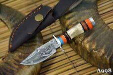 Custom Damascus Steel Skinning Hunting Knife Handmade, Stag Horn Handle (A998)