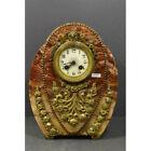 Antique French art deco marble clock lion head