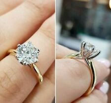 2.50Ct Real Moissanite Solitaire Engagement & Promise Ring 14k Yellow Gold Over