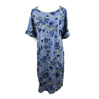 Karen Scott Sport Womens Shift Dress Floral Print Blue Plus Sizes