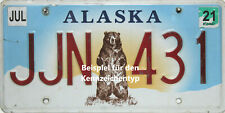 Alaska  License Plate  Bär  Embossed original US Nummernschild Originalbild