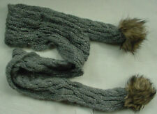 NWT Authentic Abercrombie & Fitch Fur Knit Scarf Dark Gray Womens