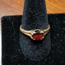 Vintage Ruby Diamond 10k Yellow Gold Ring Oval Cut Unique Estate Art Deco