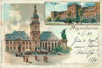 Ansichtskarte Mannheim 1898 Marktplatz mit Rathaus Schloss  (Nr.792)