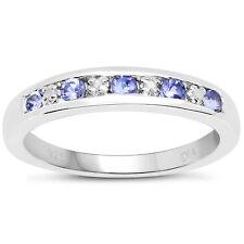 3mm wide Sterling Silver Channel set 0.45ct Tanzanite & Diamond Eternity Ring