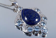 Lapis Lazuli, Anhänger+Ring+Ohrringe, 925er Silber, Juwelo, mit Zertifikat