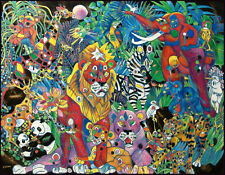 Jiang My World II Hand Signed Art Serigraph stretched Canvas Animals Sold OUT