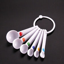 White Measuring Spoon Tea Scoop Teaspoon Baking Cooking Kitchen Tool 6PC Trendy