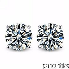 Stunning Round Cut CZ Stud Sterling Silver Earrings Excellent Feedback! ON SALE!