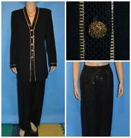 ST. JOHN Evening Knits Black Jacket Pants L 10 12 2pc Suit Sequins Shimmer