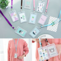 Plastic Pocket Credit ID Card Badge Tag Holder Pass Case with Neck Strap Lanyard