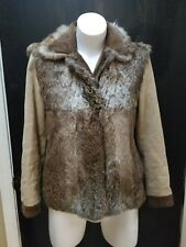 Etro Milano Lapin Fur Brown Paisley Pattern Coat, Size 42