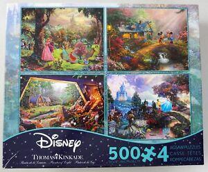 Disney/Thomas Kinkade - (4) 500pc. Jigsaw Puzzles - Mickey/Cinderella/Snow White