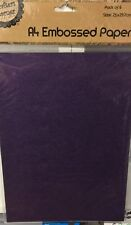 NEW - A4 EMBOSSED PAPER - 6 SHEETS - PURPLE