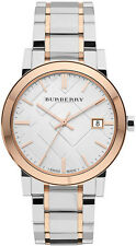 Brand New Unisex Burberry White Dial Rose Gold Plated Swiss Bezel Watch BU9006