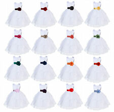 WHITE FLOWER GIRL DRESS ORGANZA WEDDING BRIDESMAID 6-9M 12-18M 2 3T 4 5 6 7 8 10
