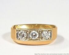 Vintage Mens 14k Gold Diamond 1.00 ctw Band Ring Mid Century Heavy 10.9g