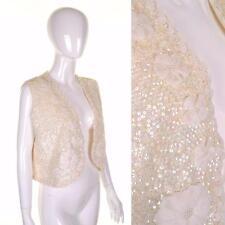 Vintage 70's 80's Blanc Sequin Gilet 14 16 veste sans manche fleur trim Glam